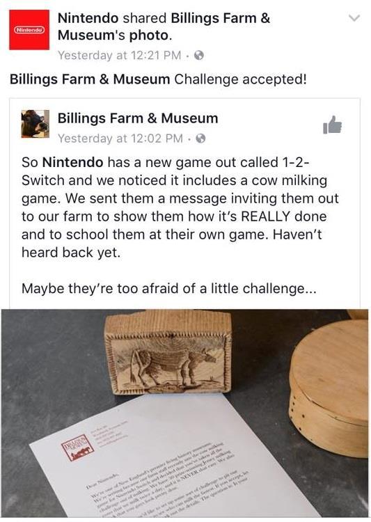Il post Facebook di Nintendo in cui accetta la sfida
