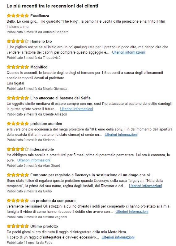 Recensioni del proiettore di Amazon