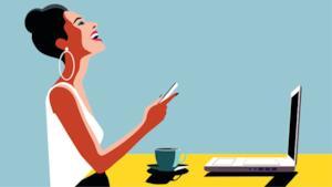 Un disegno con una ragazza che ride guardando lo smartphone