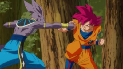 Goku Super Saiyan God vs Beerus