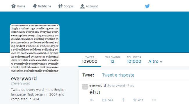 Eveyword è l'account che ha twittato il vocabolario inglese