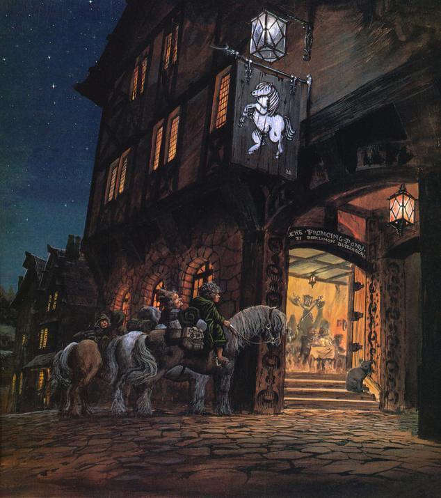 Gli Hobbit a Brea in un'illustrazione per Il Signore degli Anelli