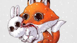Un'adorabile volpe attacca un coniglietto