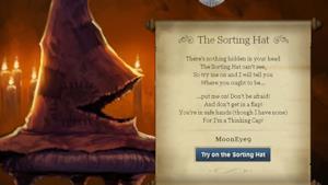 Screenschot dal sito Pottermore del quiz che ti smista nelle case di Hogwarts