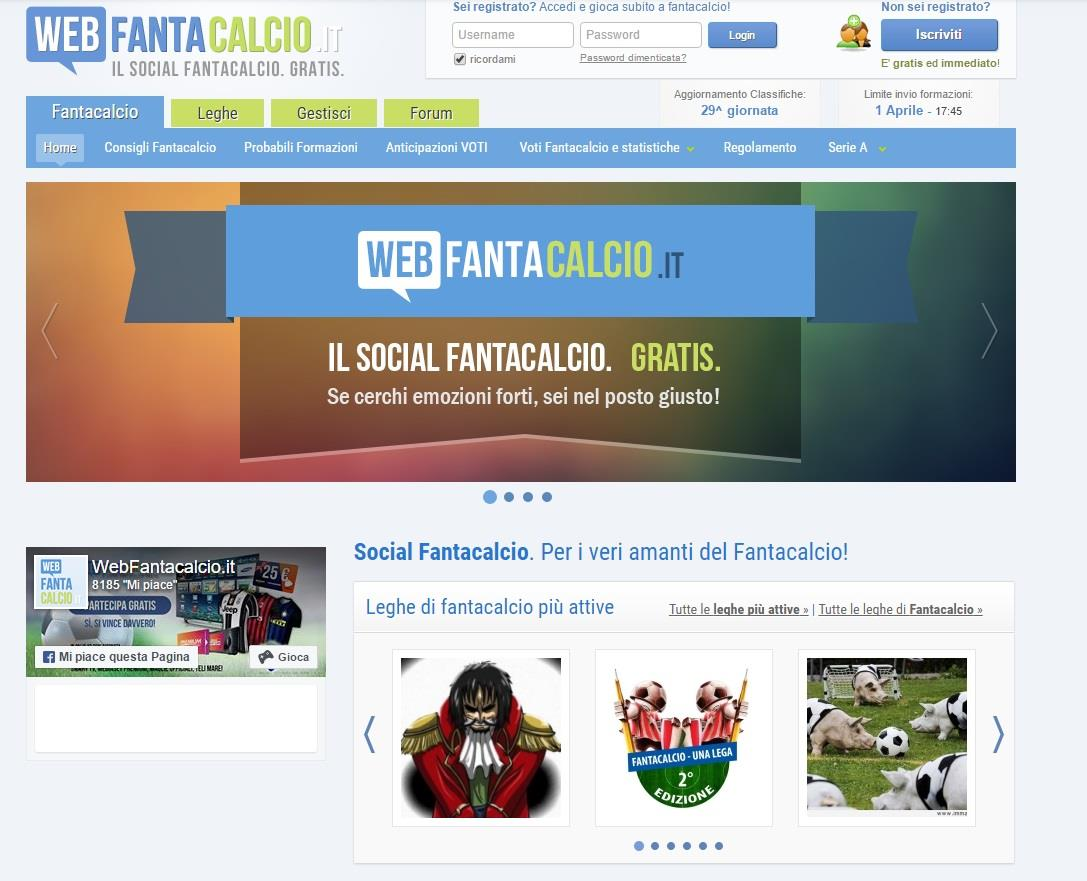 La home page di Webfantacalcio