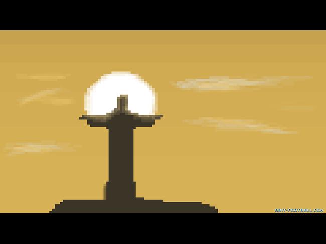 Versione a 8-bit del Cristo Redentore con il sole di Rio