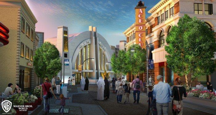 Un rednering di Metropolis al Warner Bros World Abu Dhabi