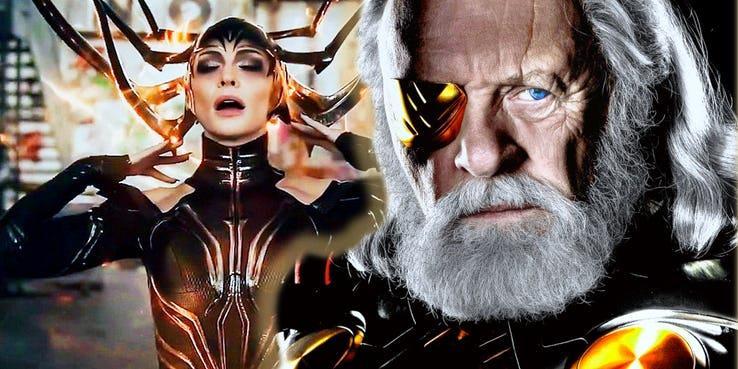 Odino ed Hela insieme in Thor: Ragnarok.
