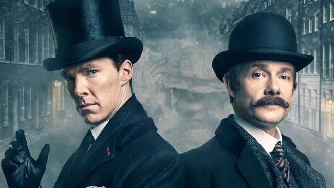 Sherlock e Watson posano per lo Speciale Natalizio della serie TV