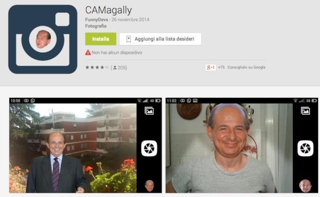 Screnshot della pagina di CAMagally, l'app per Android