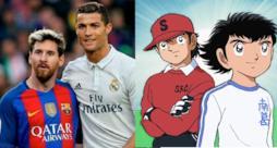 Messi e Ronaldo a sinistra, Holly e Benji a destra