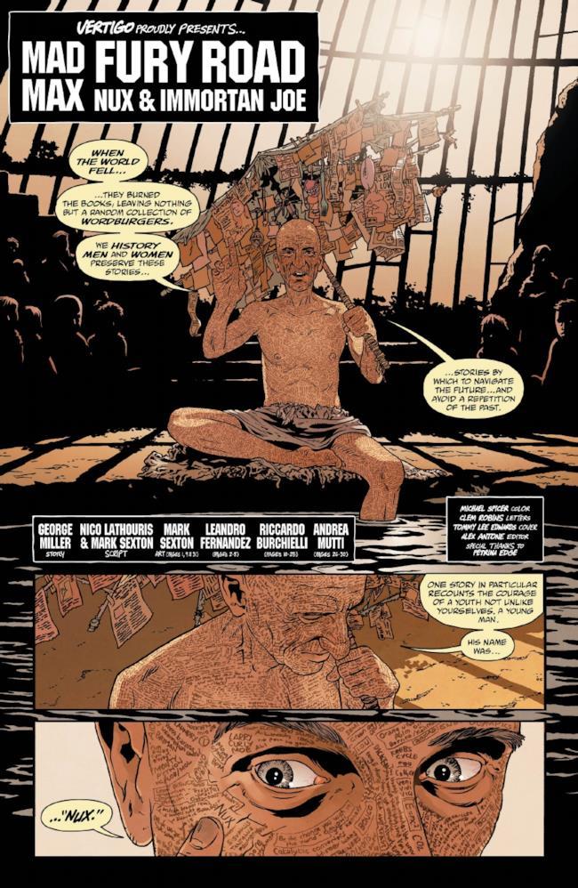 Prima pagina del primo fumetto di Mad Max: Fury Road