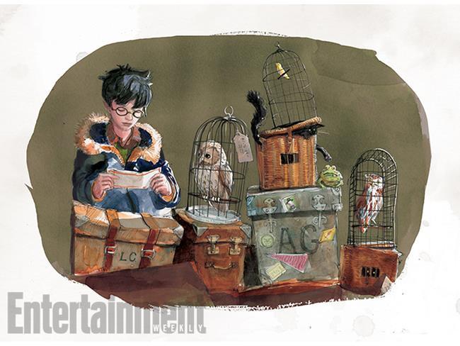 Harry pronto a partire per Hogwarts in un'illustrazione di Jim Kay