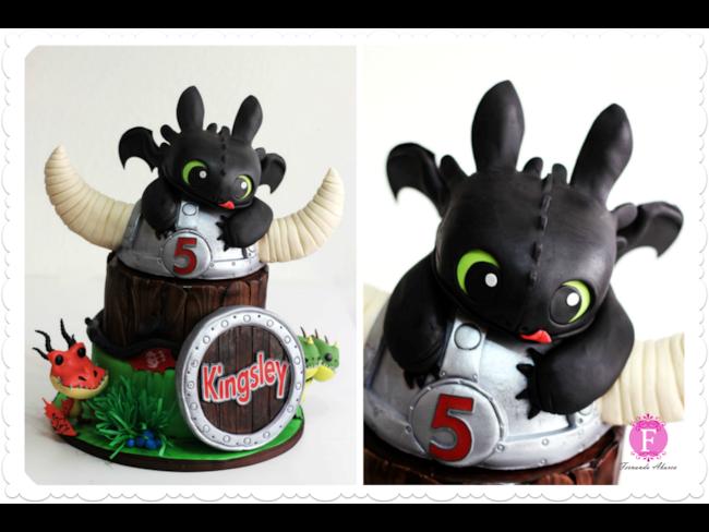 Torta di compleanno con Sdentato di Dragon Trainer