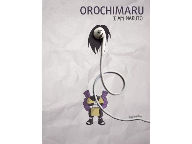 Orochimaru creato a partire da un paio di auricolari
