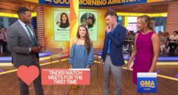 Josh Avsec e Michelle Arendas si incontrano per la prima volta durante Good Morning America.