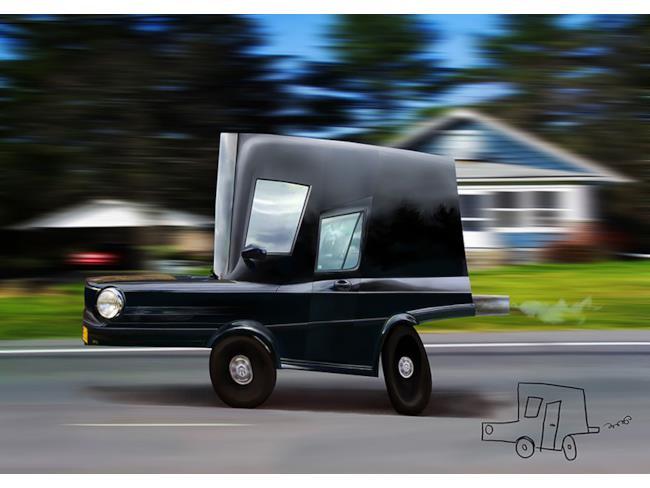 Automobile creata con Photoshop e disegno originale