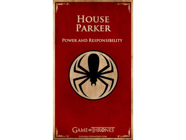 Casa Parker in un banner stile Game of Thrones
