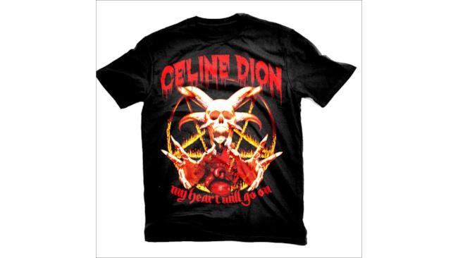 Maglietta di Celine Dion in stile heavy metal