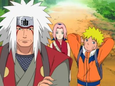 Naruto insieme a Jiraiya e Sakura