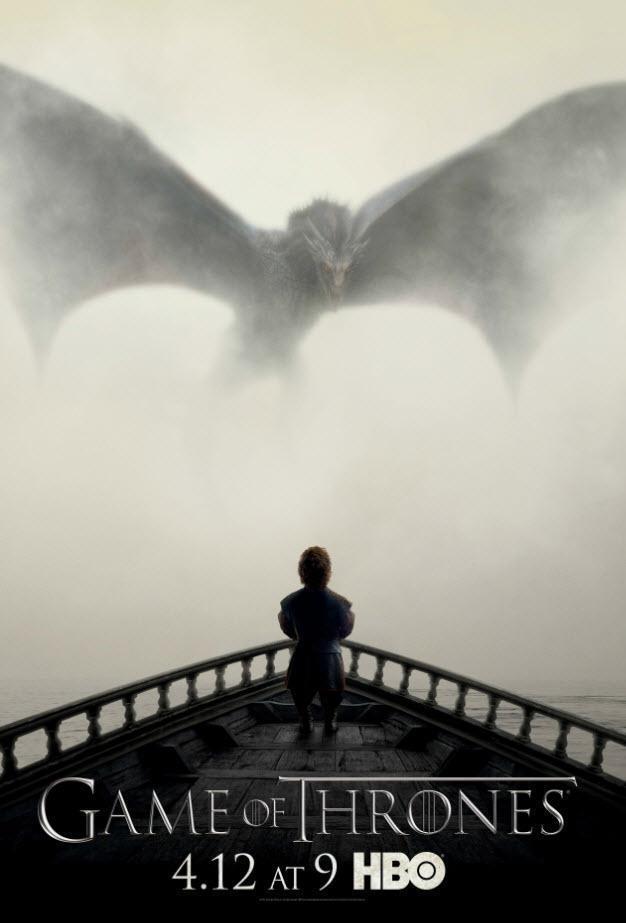 Il poster ufficiale della quinta stagione di Game of Thrones con Tyrion Lannister e un drago