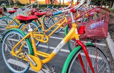 Una bella bici di Google parcheggiata