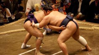 Un combattimento fra lottatori di Sumo