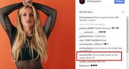 L'account Instagram di Britney Spears con il commento di un hacker evidenziato.