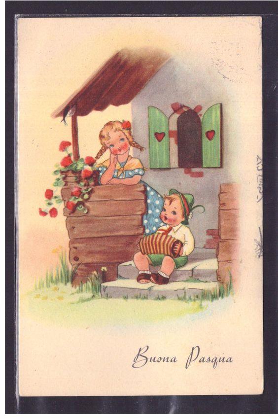 Due bambini fuori da una casetta - Immagini per auguri di Buona Pasqua