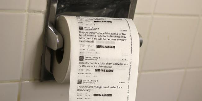 La nuova carta igienica con su stampati i tweet di Donald Trump