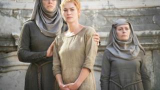 Cersei Lannister nel finale della stagione 5 di Game of Thrones