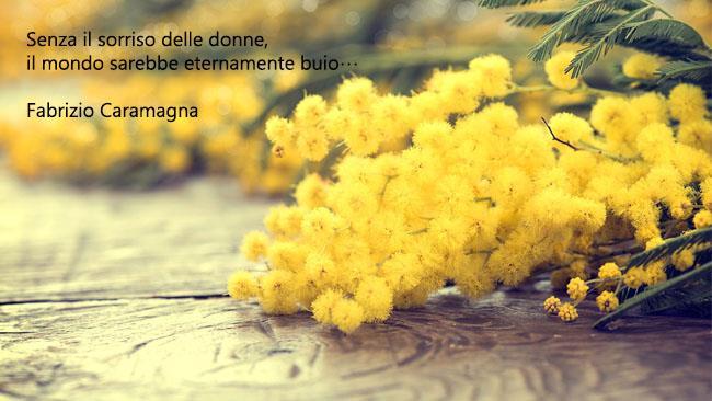 Una frase famosa e un fiore di mimosa - Immagini per la Festa della Donna