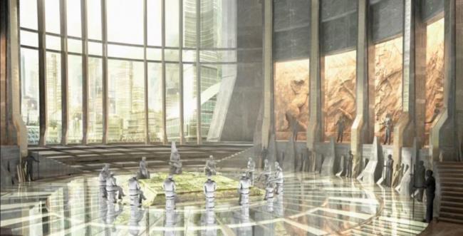 Un enorme sala consiliare con al centro il trono di Black Panther