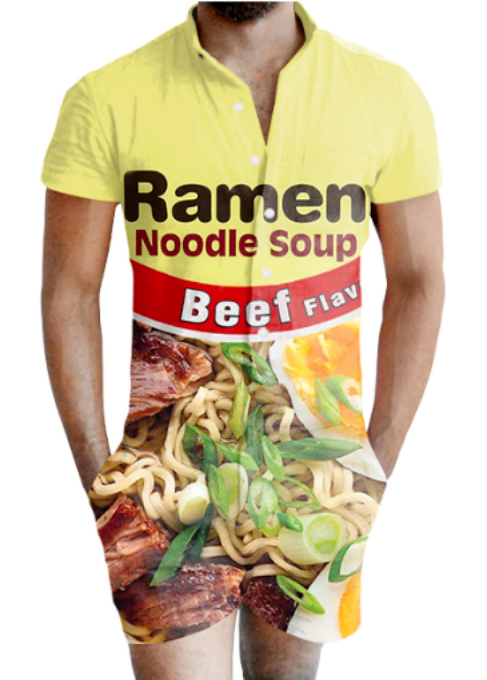 Pagliaccetto da uomo su cui è stampato un pacco di noodles