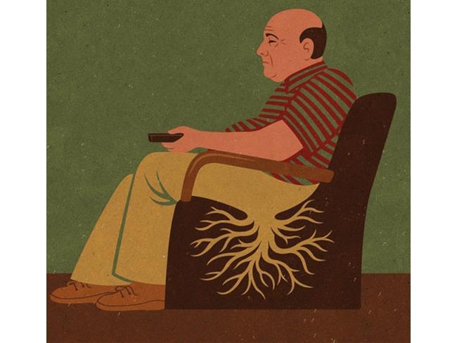Illustrazione satirica di John Holcroft: stare a casa