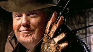 Trump vestito da Freddy Krueger
