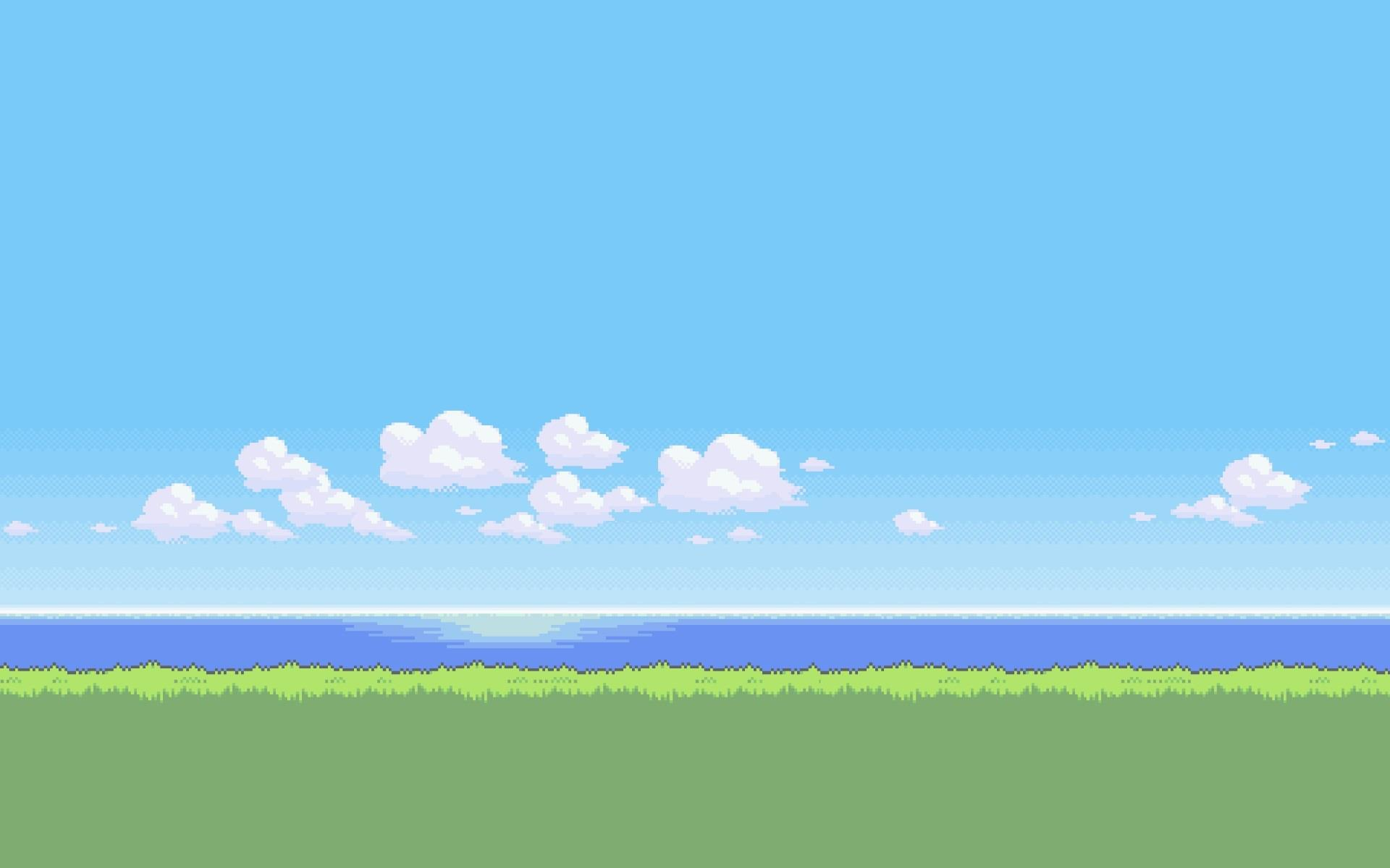 Un paesaggio in grafica 8-bit - Sfondi per PC, iPhone, Android e profilo WhatsApp da scaricare