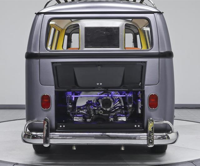 Dettagli del cofano posteriore della Volkswagen DeLorean