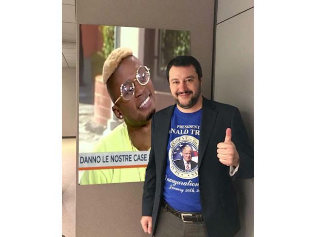 Meme di Salvini con Bello Figo Gu