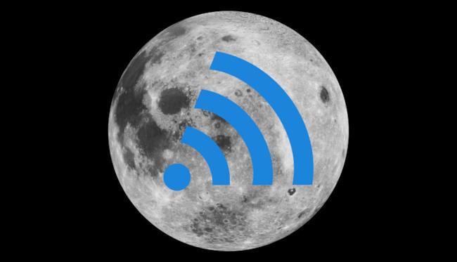 La Luna ricoperta dal simbolo del Wi-Fi
