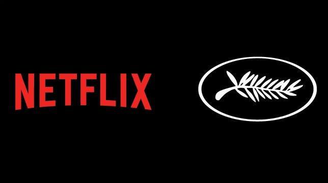 Il logo di Netflix a sinistra, quello del Festival di Cannes a destra