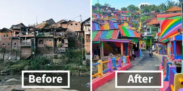 Kampung Pelangi, prima e dopo la colorazione
