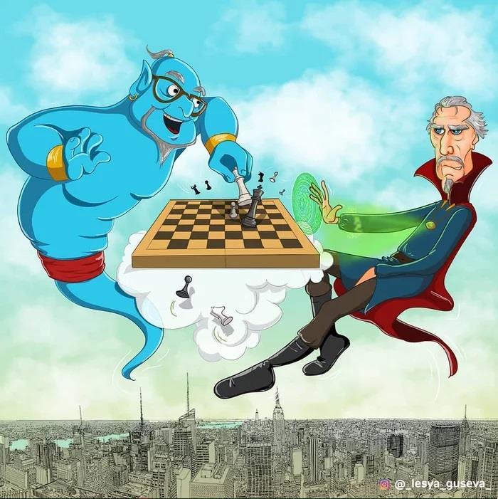 Doctor Strange vecchio che gioca a scacchi
