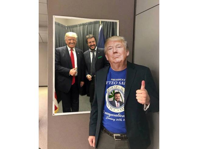 Meme di Salvini con Trump
