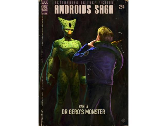 Saga degli Androidi, la quarta copertina pulp con Cell e Trunks