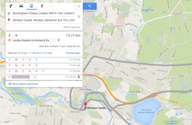 Google Maps, il percorso in carrozza reale a Londra
