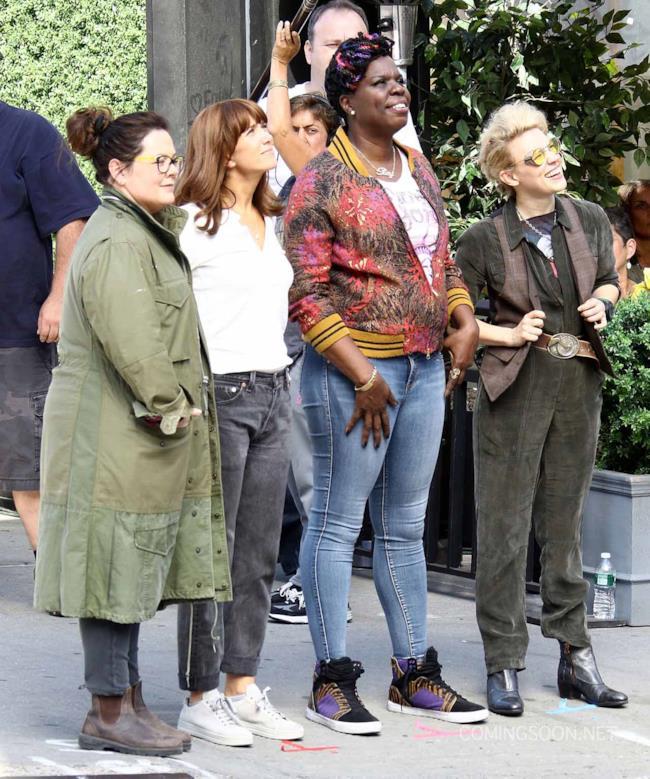 Le Ghostbusters sul set del rebooot durante l'ultimo giorno di riprese