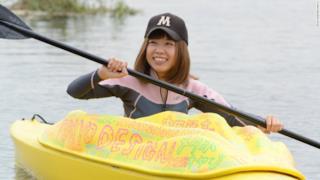 Megumi Igarashi a bordo del kayak