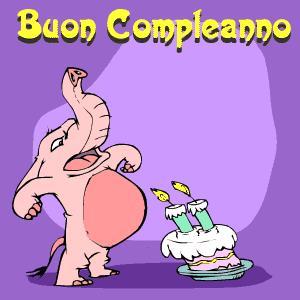 Un gif con un simpatico elefante - Immagini di buon compleanno, le più simpatiche da scaricare gratis