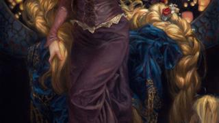 Rapunzel in un'opera d'arte ispirata alle Principesse Disney